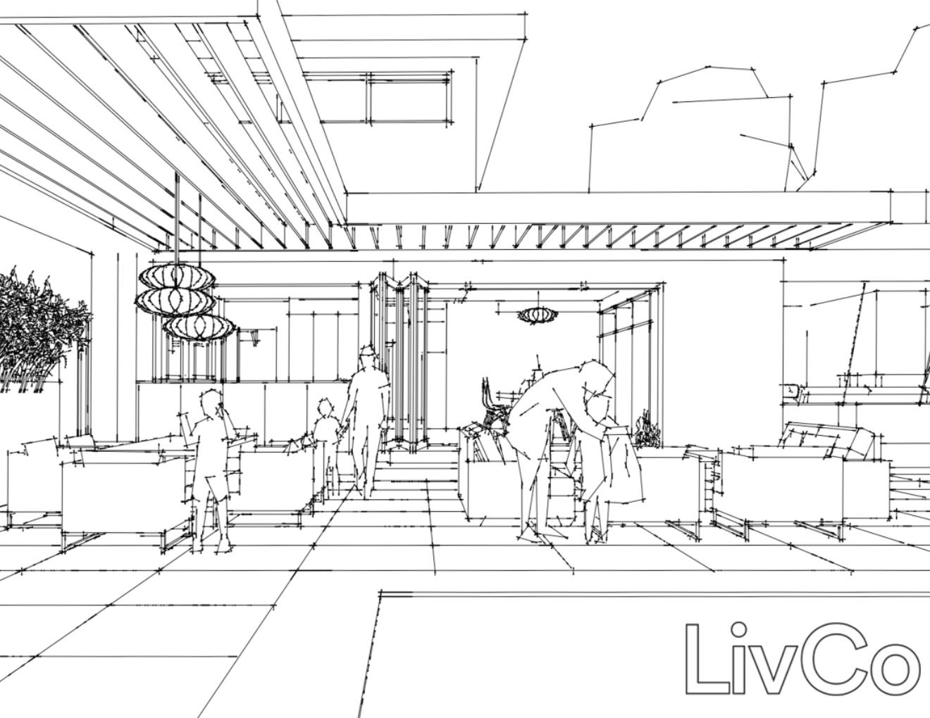Perspective line drawing of people in outdoor space with trellis style ceiling over portions of the space