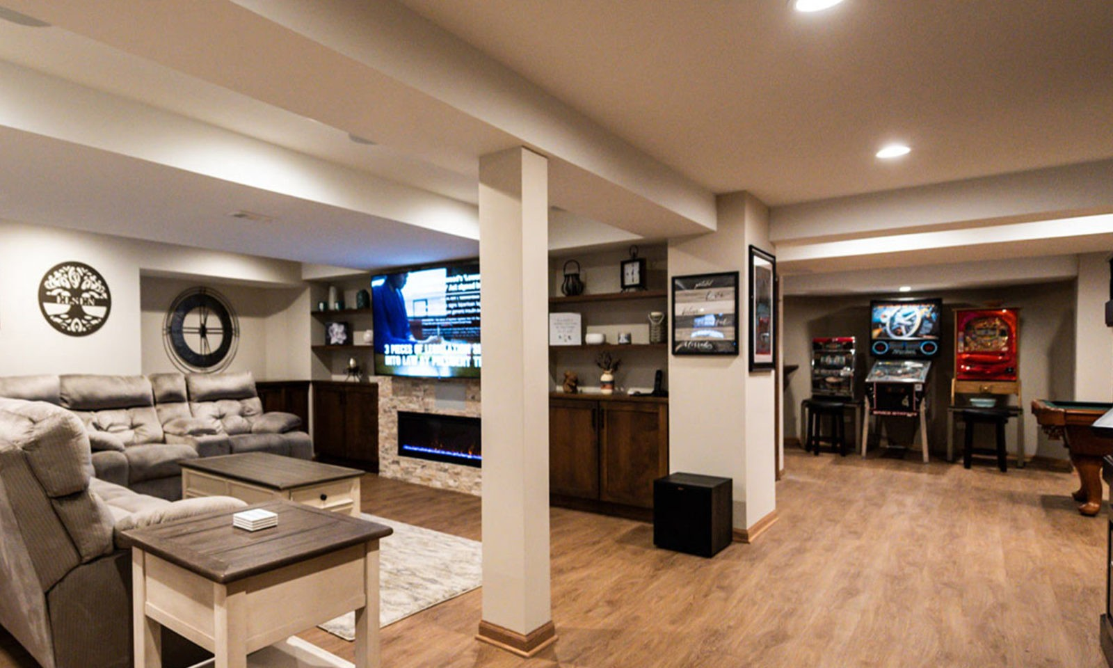view of TV in basement theatre area