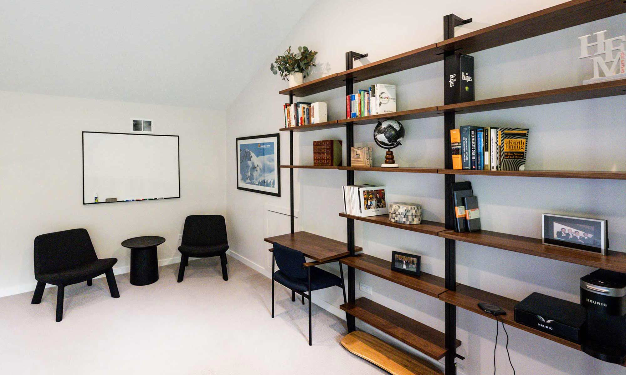 interior view of modern shelves in home office addition